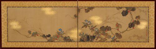 Japanese Rinpa artist Sakai Hoitsu. Rimpa school folding screen. Japanese flower painting. Image of full screen.