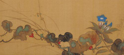 Japanese Rinpa artist Sakai Hoitsu. Rimpa school folding screen. Japanese flower painting. Image of detail.