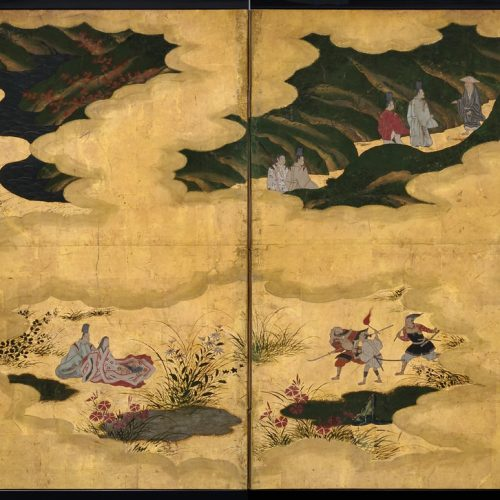 Tosa Mitsusuke (1675-1710). Japan, Edo period. Tales of Ise. Small Japanese panel screen. pigment and gold leaf on paper.