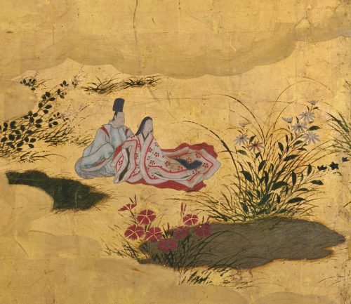 Tosa Mitsusuke (1675-1710). Japan, Edo period. Tales of Ise. Small Japanese 6 panel screen. pigment and gold leaf on paper. Close-up detail.