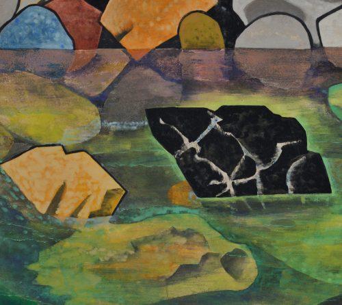Hamada Taiji (1916-2010). Japanese river landscape screen painting. Image of detail.
