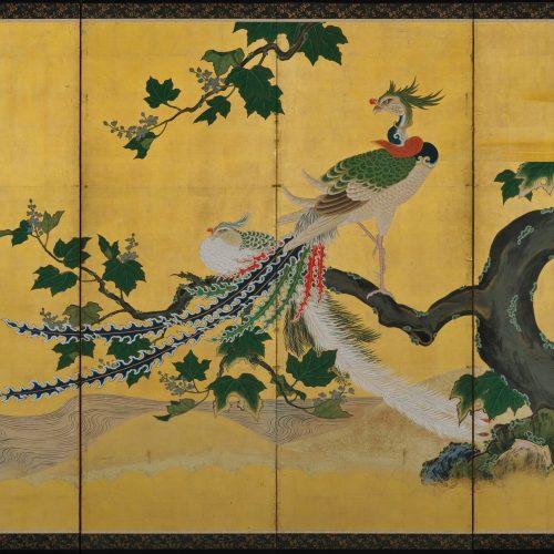 Phoenix and Peacocks. A pair of six-panel Japanese folding screens by Tsunetake Yotei (n.d.). First half of the 18th century. Kobikicho Kano school. Phoenix screen image.