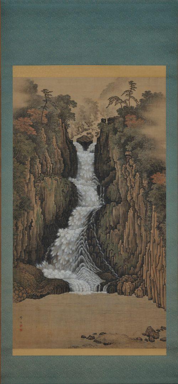 sugitani sessho (1827-1895). nachi falls. japanese landscape scroll painting. full scroll image.