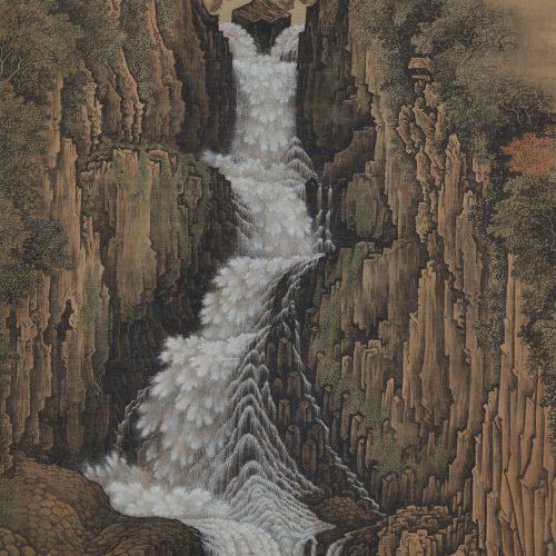 sugitani sessho (1827-1895). nachi falls. japanese landscape scroll painting.