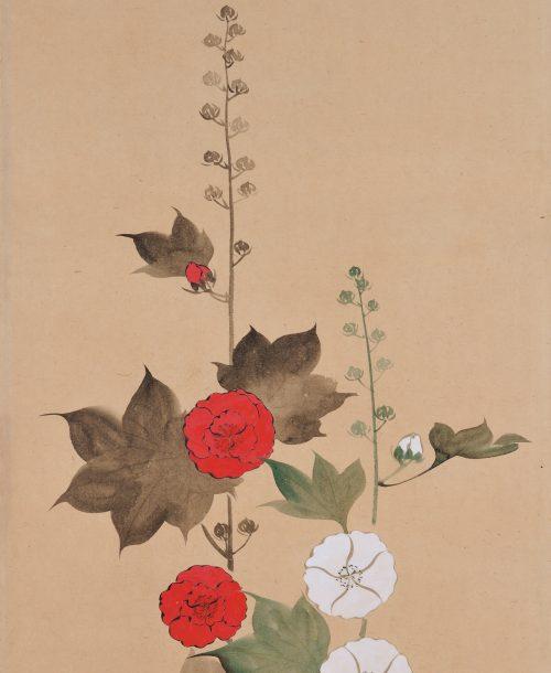 Suzuki Kiitsu (1796-1858) - japanese painting. hollyhocks. Seisei Kiitsu 菁々其一. detail.
