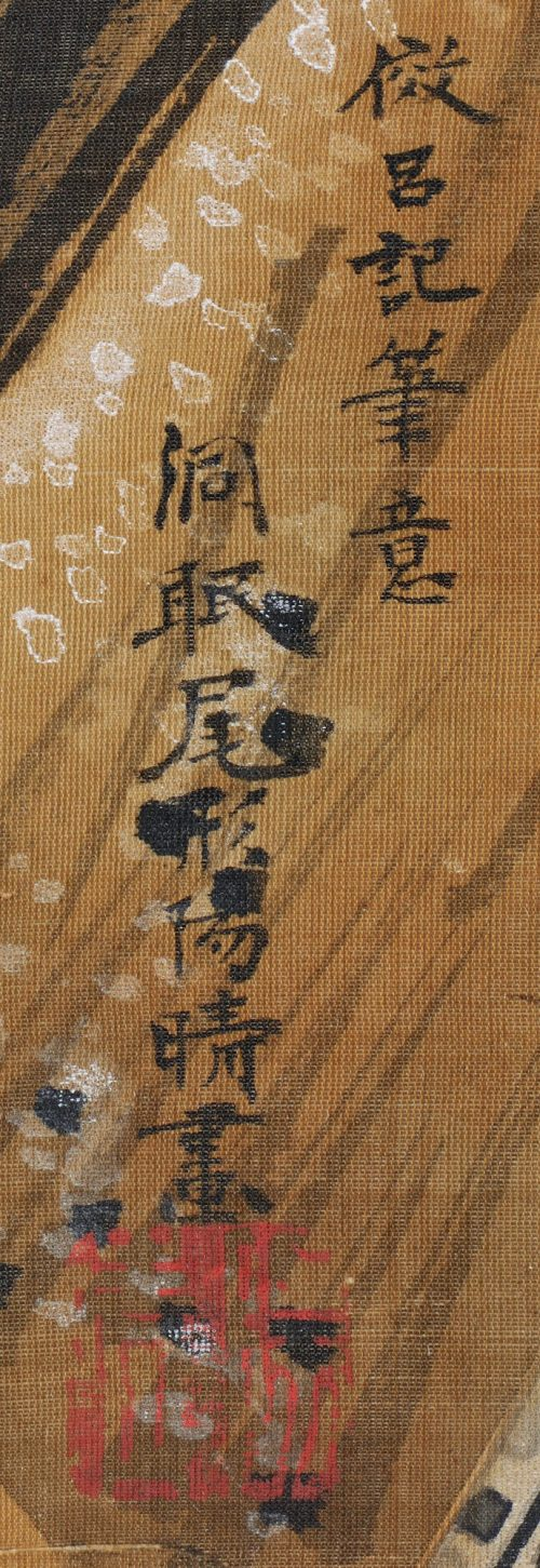 Ogata Tomin (1839 -1895). Manner of Lu Ji 呂紀. Birds and flowers. Image of signature and seal.