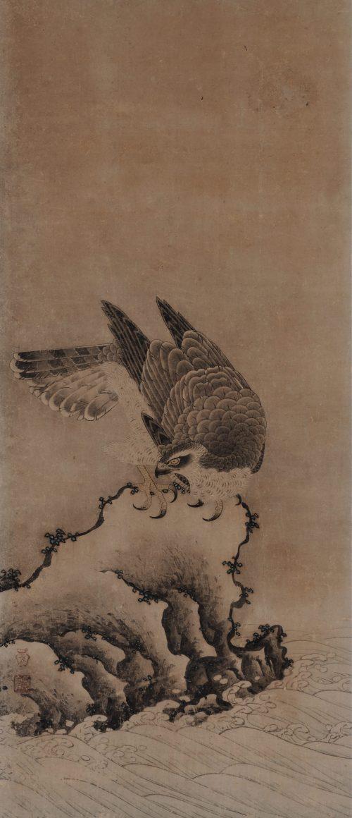 Mitani Toshuku (1577-1654). Unkoku School. Japanese falcon painting. Rock and waves.