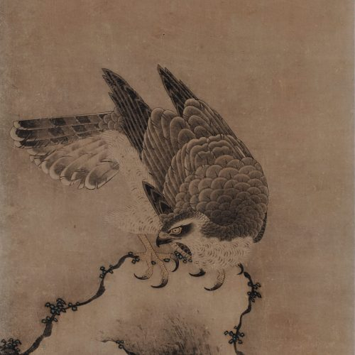 Mitani Toshuku (1577-1654). Unkoku School. Japanese falcon painting. Rock and waves.