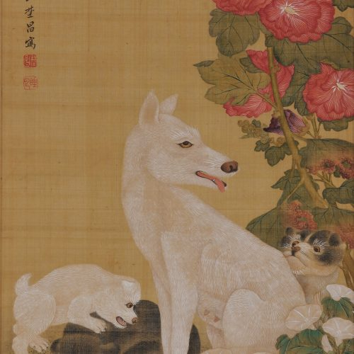 Japanese scroll painting. Mother's breast. Dog and Puppy painting.