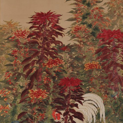 Amaranth & Rooster. Circa 1930. Japanese scroll painting. Image.