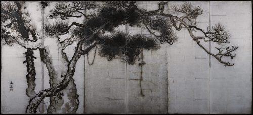 Uenaka Chokusai (1885-1977). Pine trees. Japanese folding screen. Left side. Full screen image.