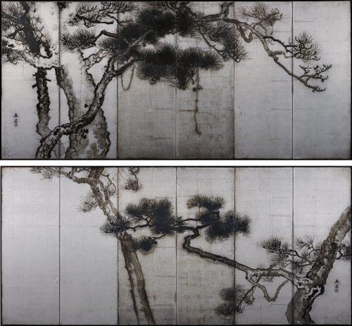 Uenaka Chokusai (1885-1977). Pine trees. Japanese folding screen. Image of pair.