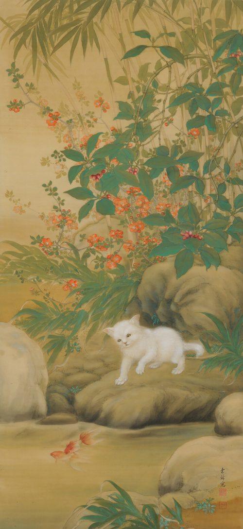 Hirose Toho (1875-1930). Japanese Taisho era scroll painting. Playful Cat. Full image.