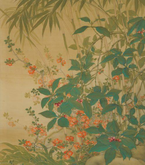 Hirose Toho (1875-1930). Japanese Taisho era scroll painting. Playful Cat. Spring garden image.