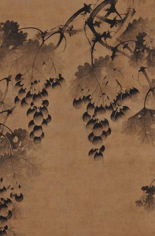 Korean grapevine painting. 17th century. Panel. Image of grape detail.