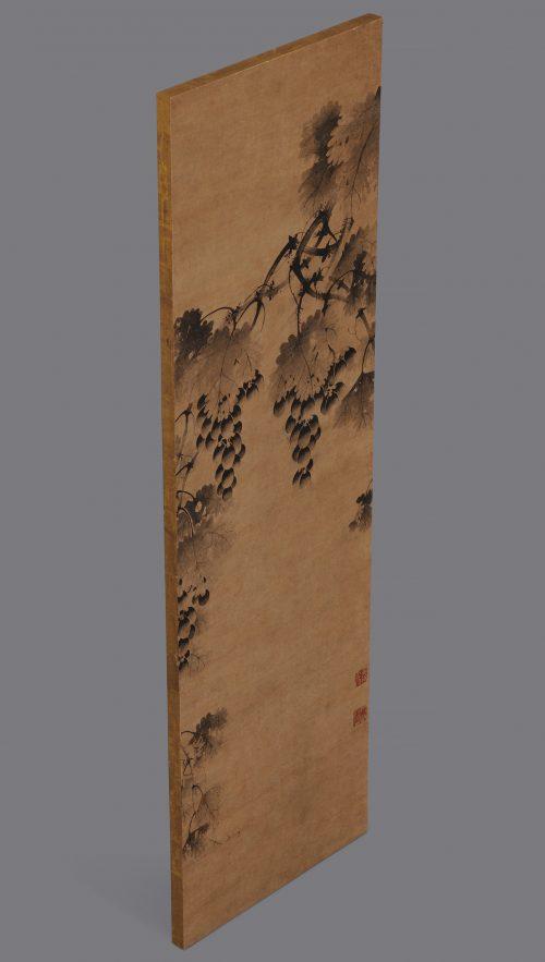 Korean grapevine painting. 17th century. Panel.