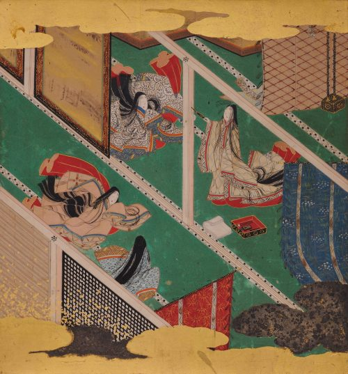 17th Century Japanese Tale of Genji Painting - Chapter 31, Makibashira. Album leaf.
